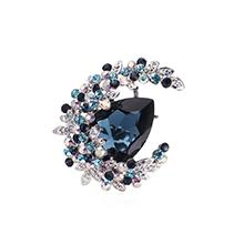 奥地利水晶胸针--花缀月亮(白金+墨蓝)
