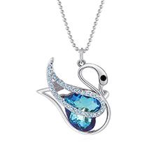 奥地利水晶胸针毛衣链两用款--自由天鹅(白金+蓝光)