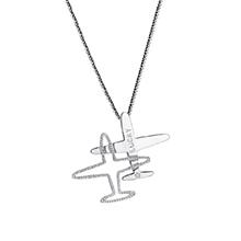 镀真金飞机挂件胸针毛衣链两用款(白色)