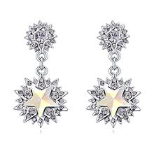 奥地利水晶S925银针耳环--缤花纷飞(彩白)