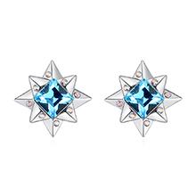 奥地利水晶S925银针耳环--闪恋薄荷糖(海蓝)
