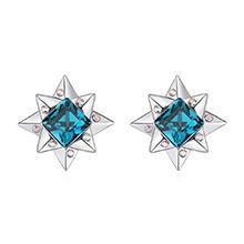奥地利水晶S925银针耳环--闪恋薄荷糖(彩蓝)