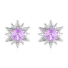 奥地利水晶S925银针耳环--仙草有灵(紫罗兰)