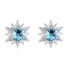 奥地利水晶S925银针耳环--仙草有灵(海蓝)