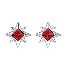 奥地利水晶S925银针耳环--浪漫香气(浅红)