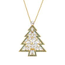 镀真金胸针毛衣链两用款--恋上圣诞树(香槟金+绿色)