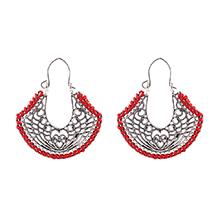复古民族风百搭气质爱心花纹耳环(红色)