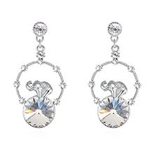 奥地利水晶耳环--创意小象(白色)