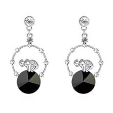 奥地利水晶耳环--创意小象(黑色)