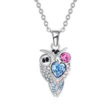 奥地利水晶项链--炫酷猫头鹰(海蓝+玫红)