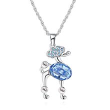 奥地利水晶项链--优雅贵宾犬(海蓝)