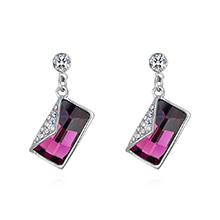 奥地利水晶S925银针耳环--书信(紫色)