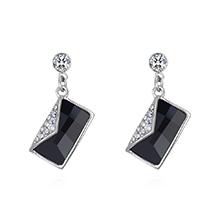 奥地利水晶S925银针耳环--书信(黑色)