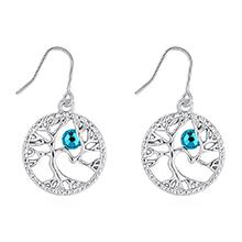 奥地利水晶耳环--相思树(蓝锆石)