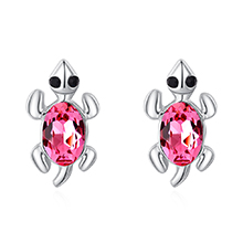 奥地利水晶S925银针耳钉--小乌龟(玫红)