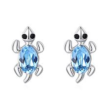 奥地利水晶S925银针耳钉--小乌龟(海蓝)