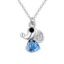 奥地利水晶项链--爱心小狗(海蓝)