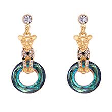 奥地利水晶S925银针耳环--优雅花豹(香槟金+蓝光)