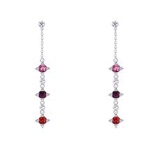 奥地利水晶S925银针耳环--幸运的星(玫红+紫红+浅红)
