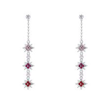 镀真金S925银针耳环--星辰语(浅玫红+紫红+浅红)