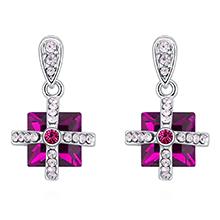 奥地利水晶耳环--绚丽方晶(紫红)