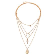欧美时尚新潮月亮十字架圣母吊坠多层项链(仿香槟金)