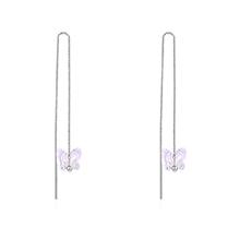 S925银水晶耳环--蝴蝶之梦(彩白)