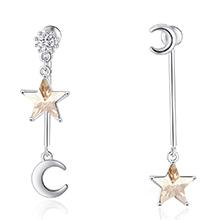 水晶S925银针耳环--奇月星空(金色魅影)