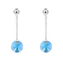 S925纯银水晶耳环--魔圆与密爱(海蓝)