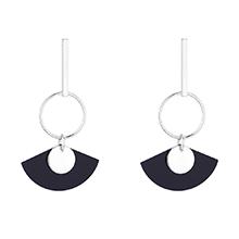 韩版镀真金简约森女系S925银针扇形耳环(白金)