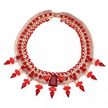 欧美时尚潮流复古镶钻多层水滴项链(红色)