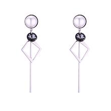 水晶菱形耳环