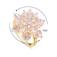 镀真金锆石双层雪花可旋转闭口食指戒指(14K金)