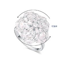 镀真金锆石五角花朵可旋转开口戒指(白金)