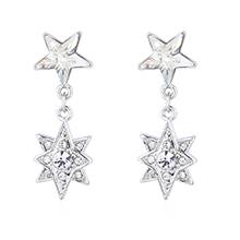 奥地利水晶耳环--五角星星(白色)