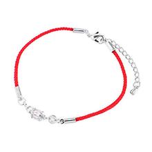 镀真金情侣红绳锆石手链(白金)
