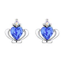 奥地利水晶耳环--皇冠(蓝色)