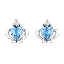 奥地利水晶耳环--皇冠(海蓝)