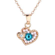 水晶项链--心花怒放(香槟金+蓝锆石)