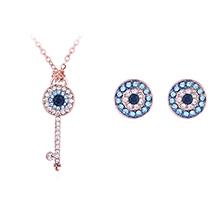 水晶项链耳钉套装--恶魔之眼浪漫钥匙(玫瑰金)