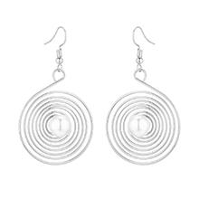 韩版回形网状珍珠耳环(银色)