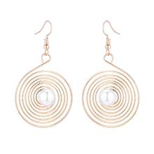 韩版回形网状珍珠耳环(金色)