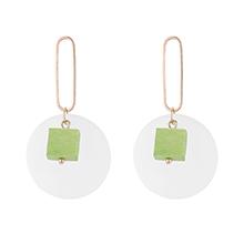 韩版大圆片方木耳环(绿色)