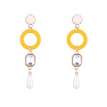 韩版圆圈珍珠水晶耳环(黄色)