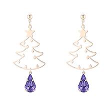 奥地利水晶耳环--圣诞树(14K金+藕荷紫)