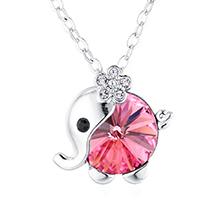 奥地利水晶项链--小花象(玫红)