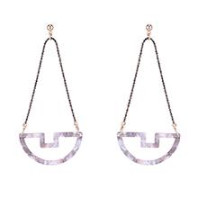 韩版复古个性小船耳环(彩白)
