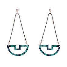 韩版复古个性小船耳环(墨绿)