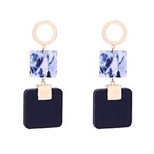 韩版个性方形板材耳环(深蓝)