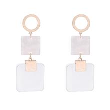 韩版个性方形板材耳环(白色)